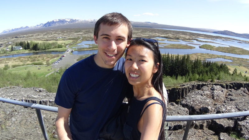 Kim and Dan in Thingvellir National Park, Iceland