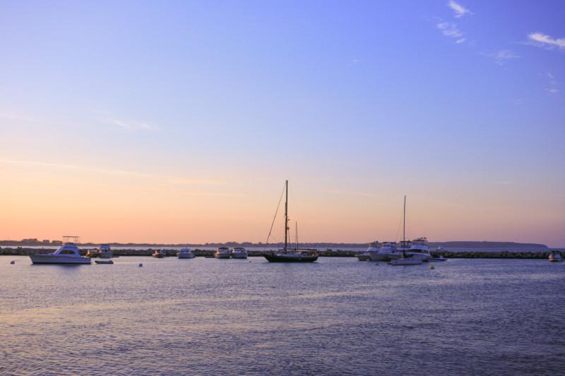 Sunset, sailboat, Block Island