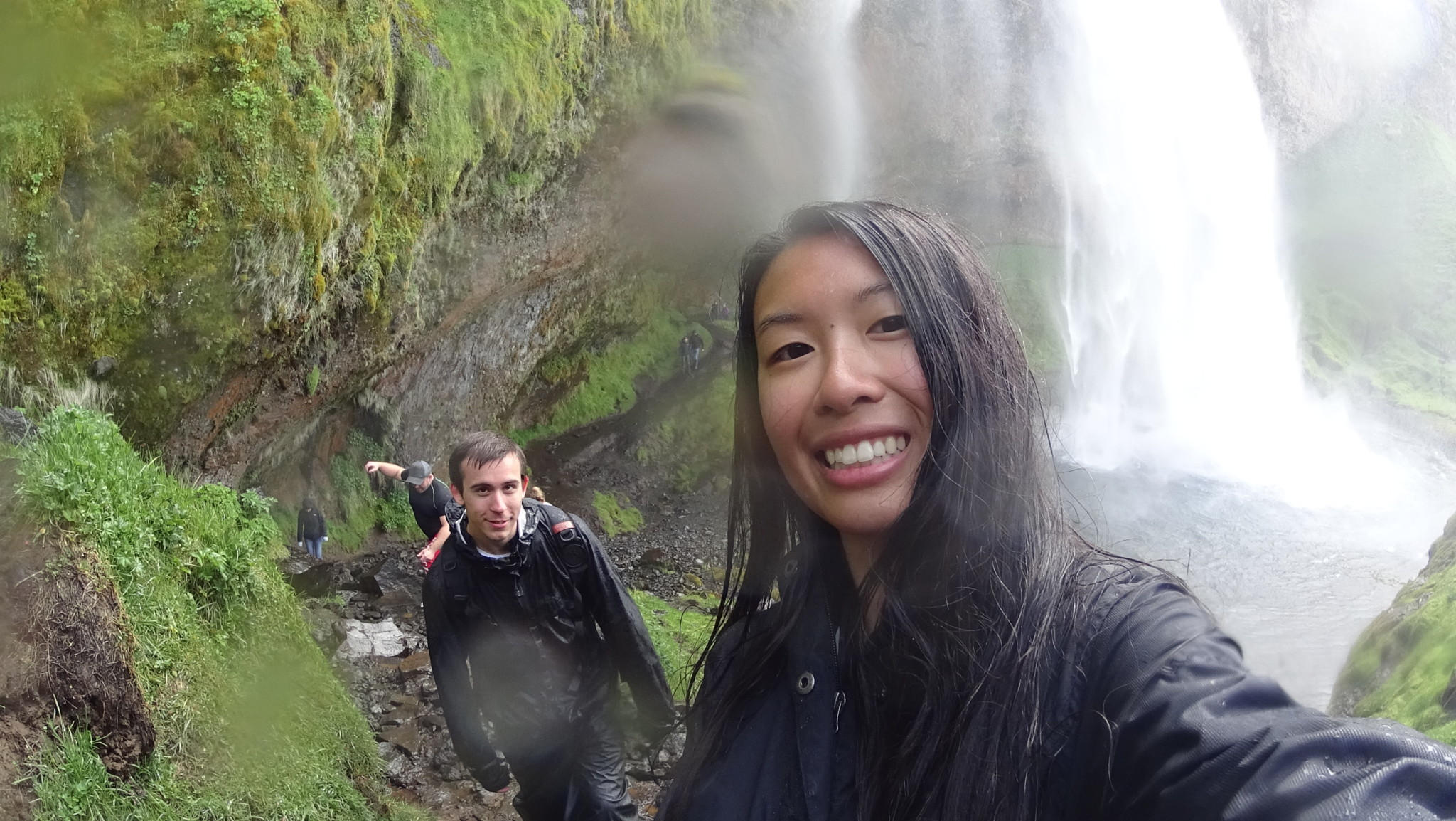 After picture of Kim and Dan at Seljalandsfoss Waterfall, Iceland