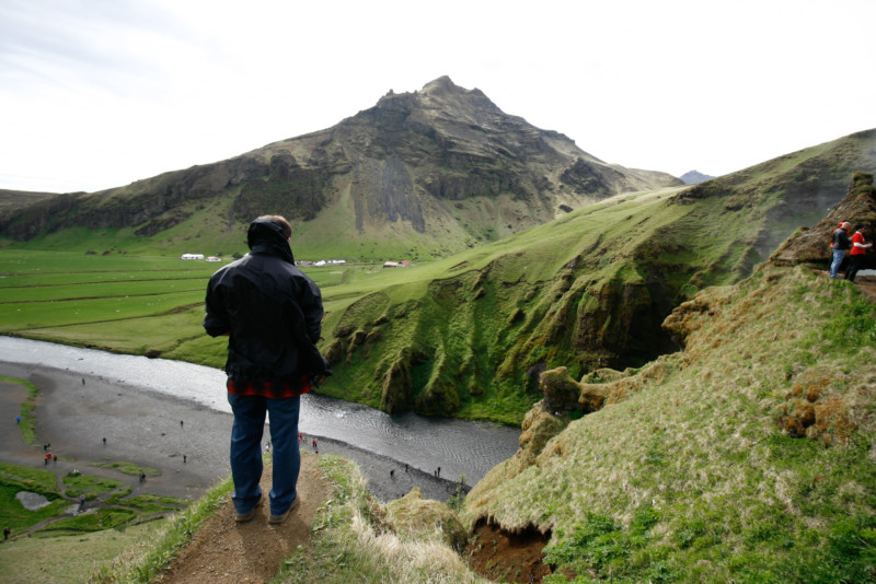 At the top of Skogafoss Waterfall