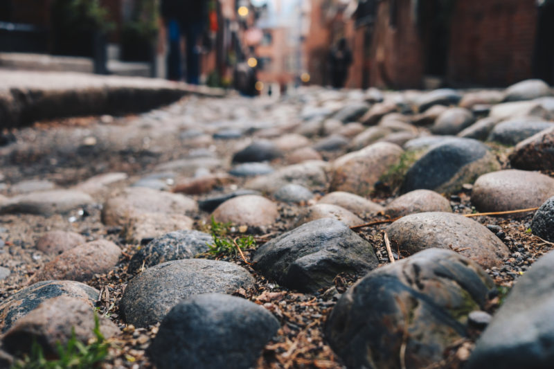 Cobblestone close up on Acorn Street, Beacon Hill, Boston