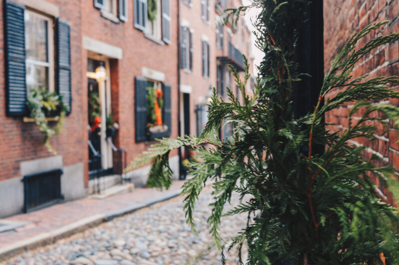 Acorn Street during Christmas, Beacon Hill, Boston