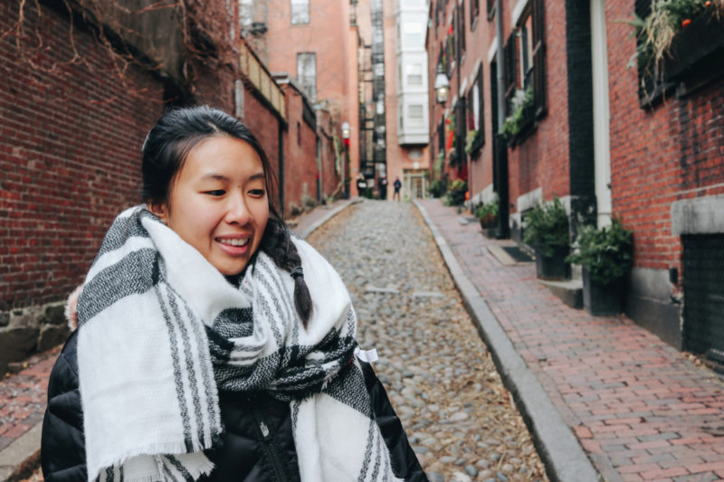 Me on Acorn Street, Beacon Hill, Boston