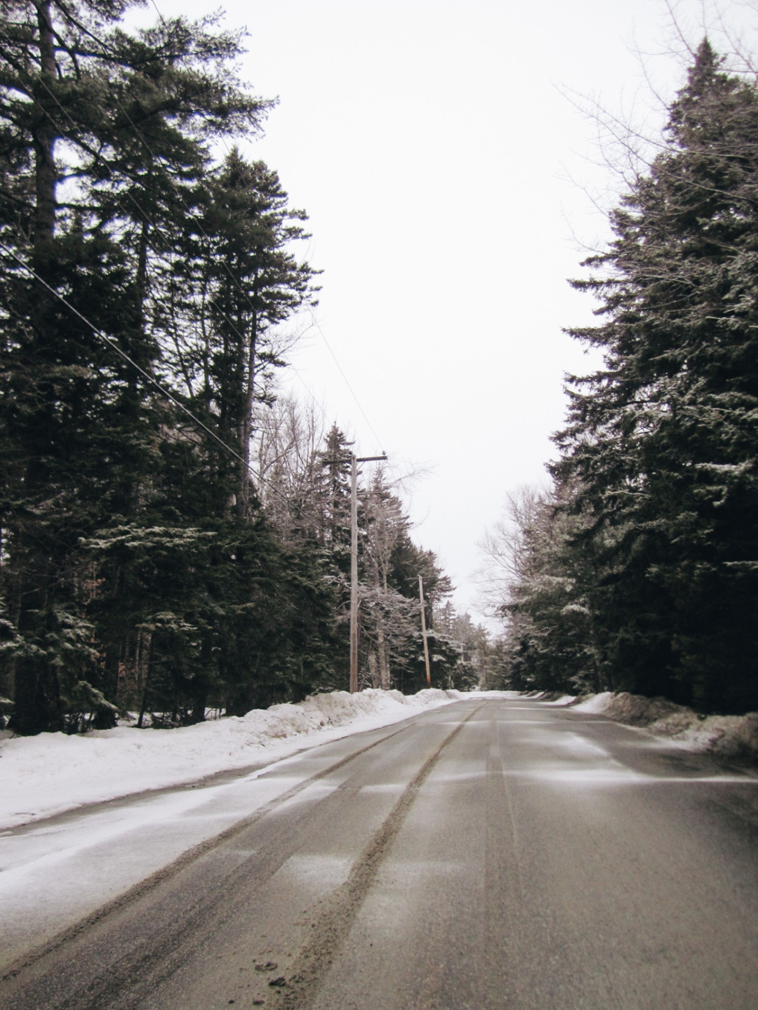 Snowy Road in Maine