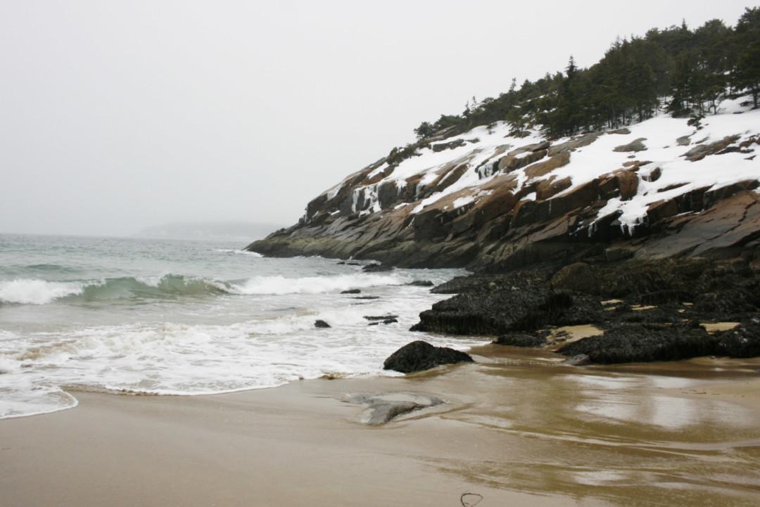 Sand Beach in the Snow, Acadia National Park, Maine