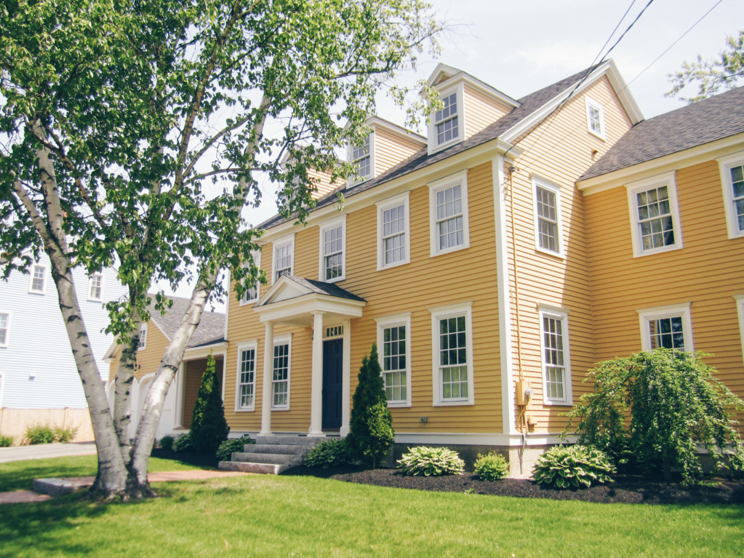 Yellow New England Home in the springtime, Portsmouth, New Hampshire