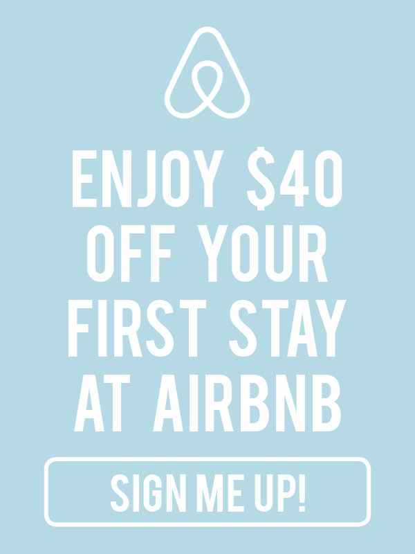 Get $40 off your first stay at Airbnb by signing up using our link!