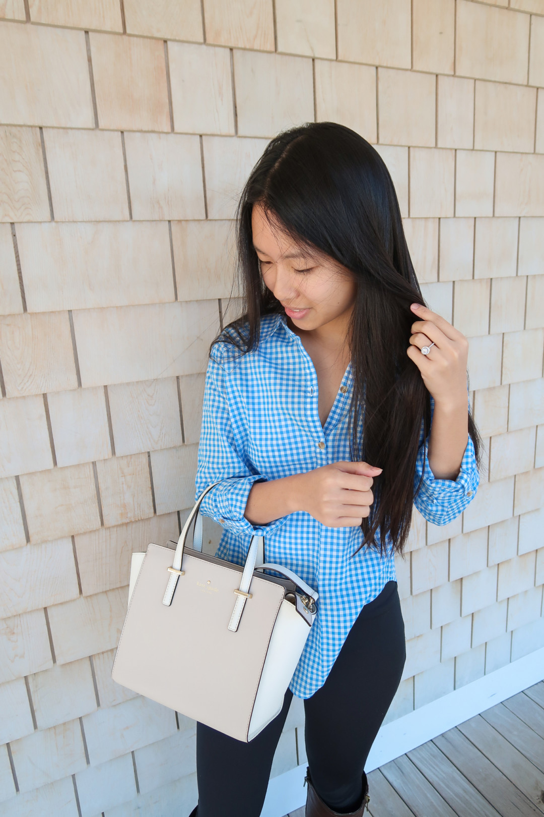 New England style: blue gingham shirt and Kate Spade purse