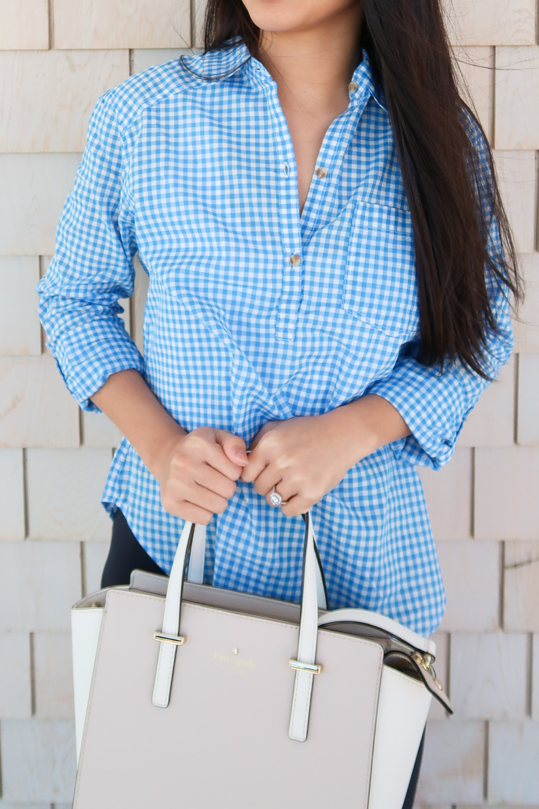 New England style: blue gingham shirt and Kate Spade bag