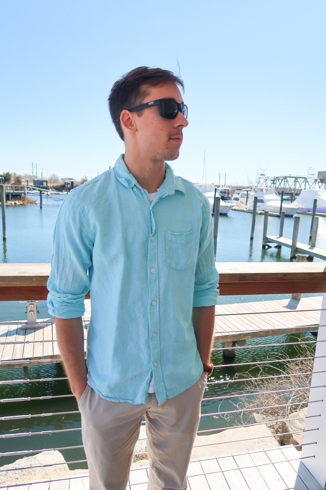New England Style: Mens Blue Button Up Shirt