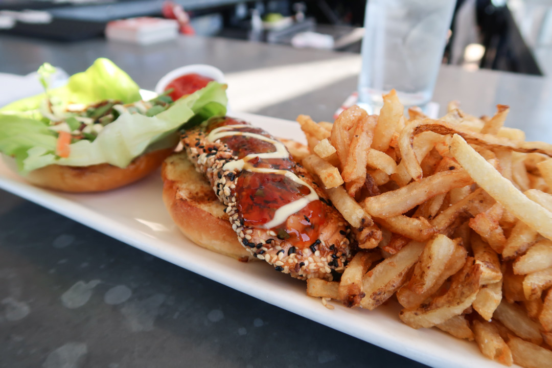 Sesame Salmon Burger at Red36 in Mystic, Connecticut