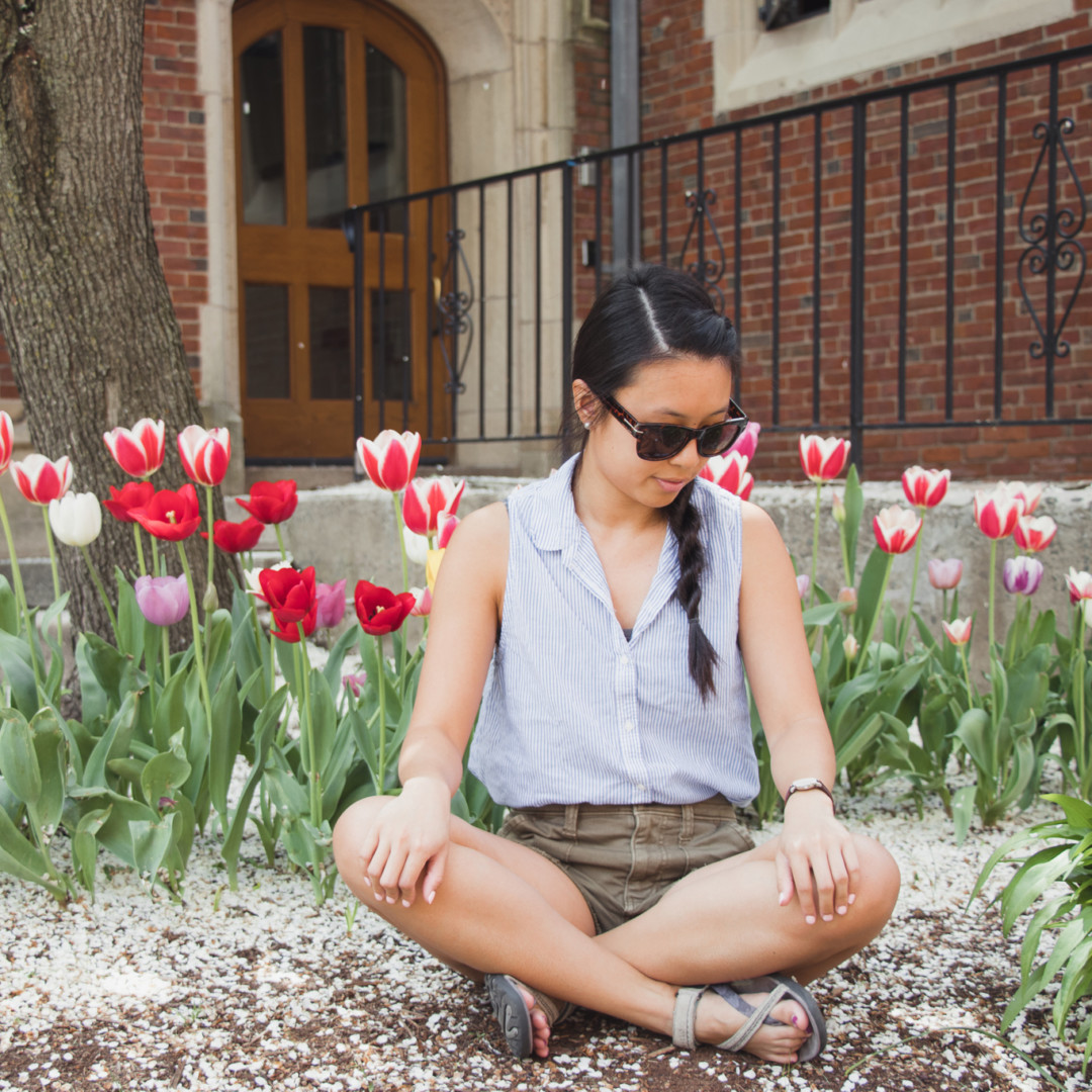 Kim with Tulips and Flowering Tree at Yale University