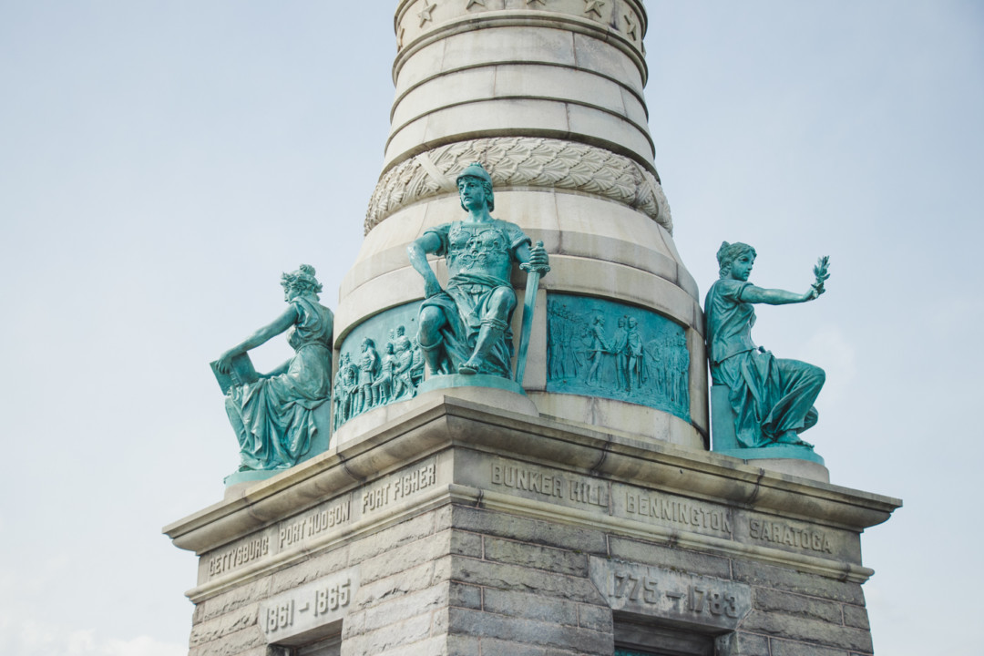 Close up of Sailors and Soldiers Monument in East Rock Park, New Haven, CT