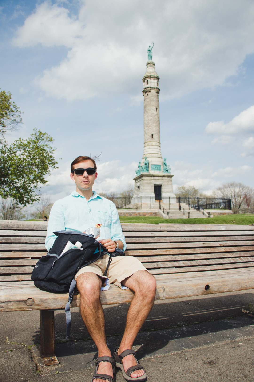Sitting by the Sailors and Soldiers Monument at East Rock Park, New Haven, CT