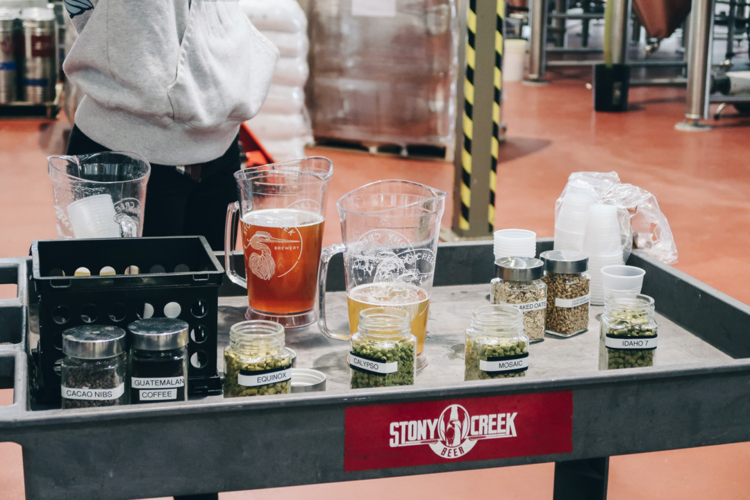 Samples of beer at Stony Creek Brewery Tour, Branford, CT