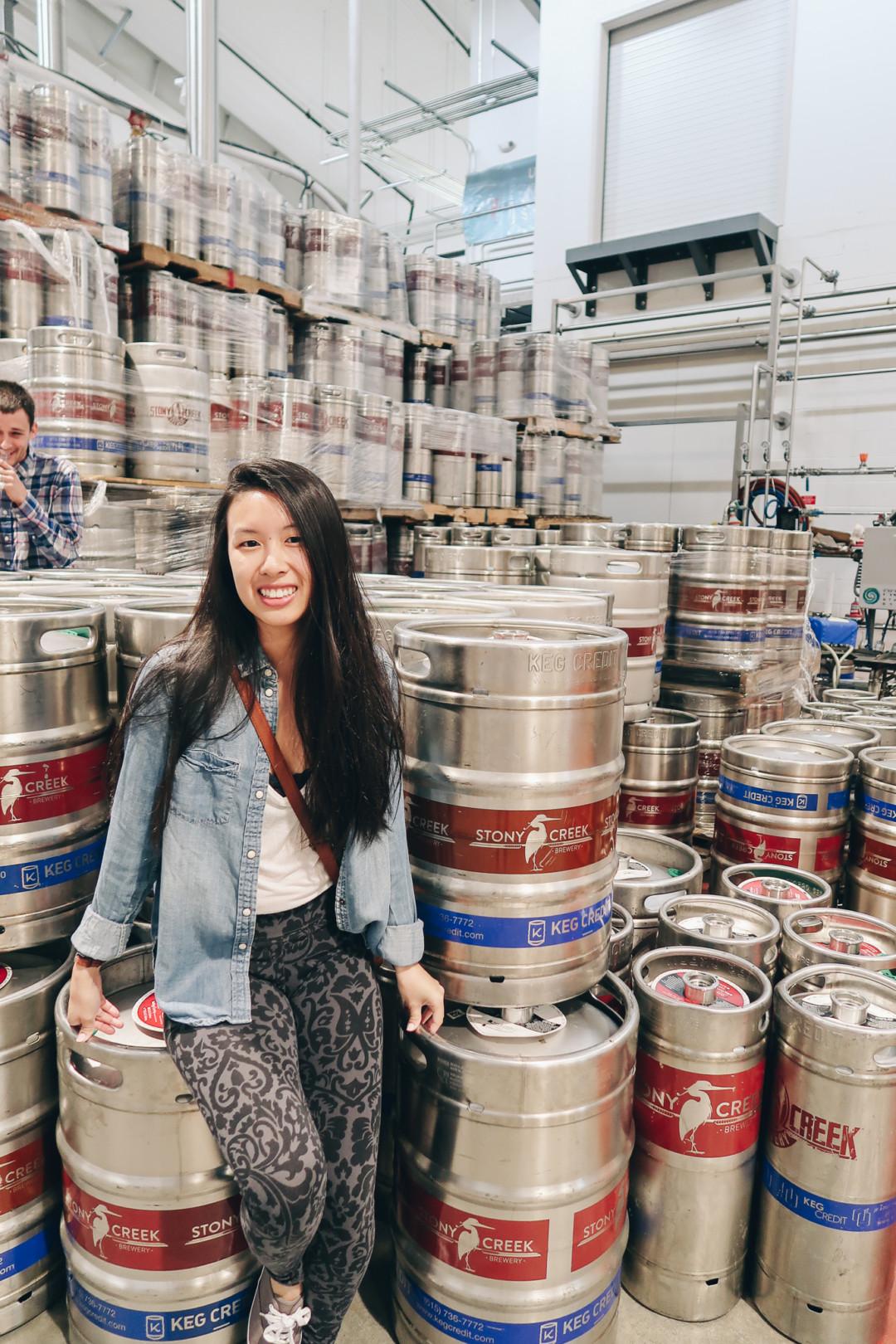 Kim touring the Stony Creek Brewery, Branford, CT