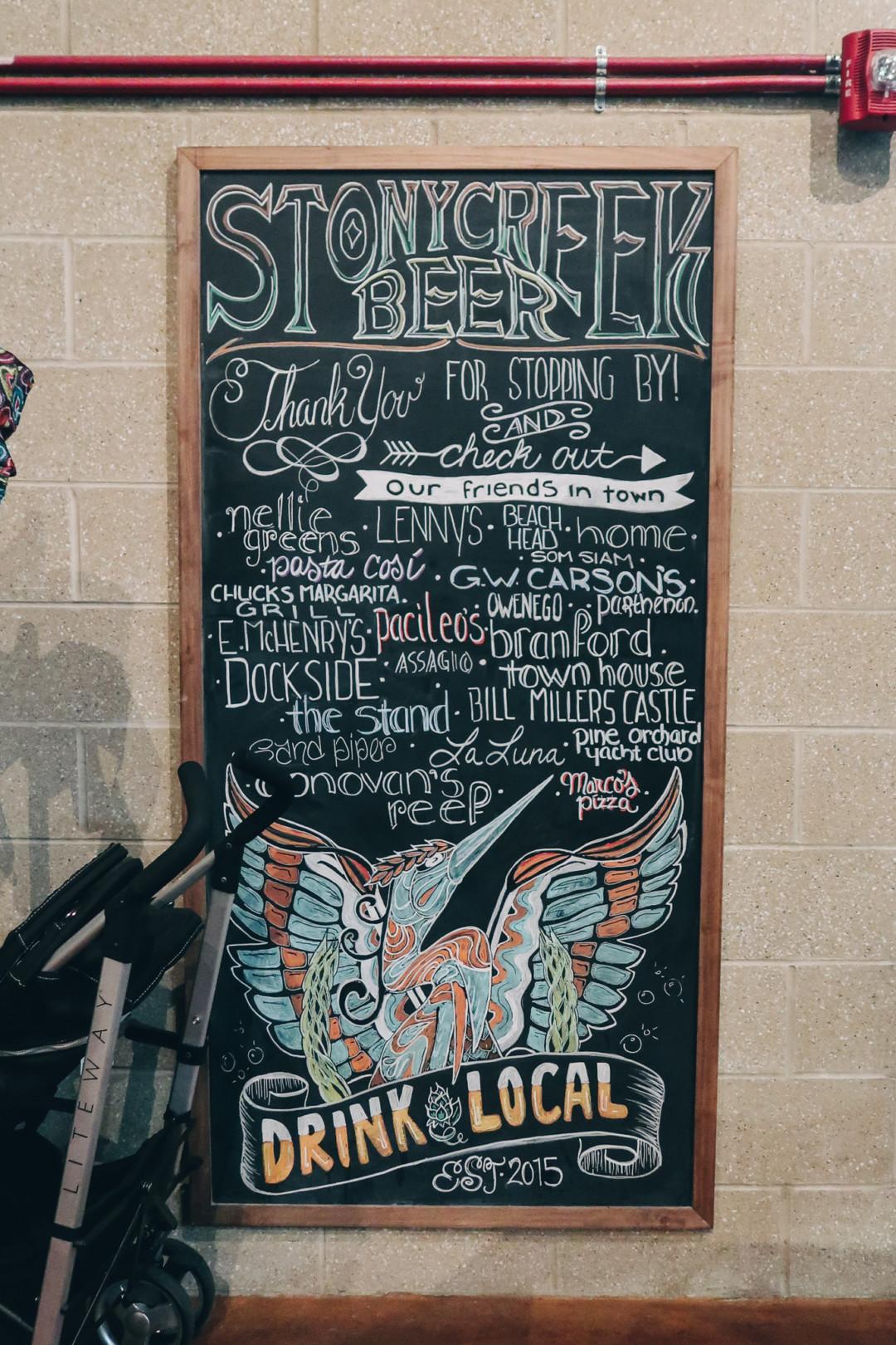 Chalkboard design at Stony Creek Brewery, Branford, CT