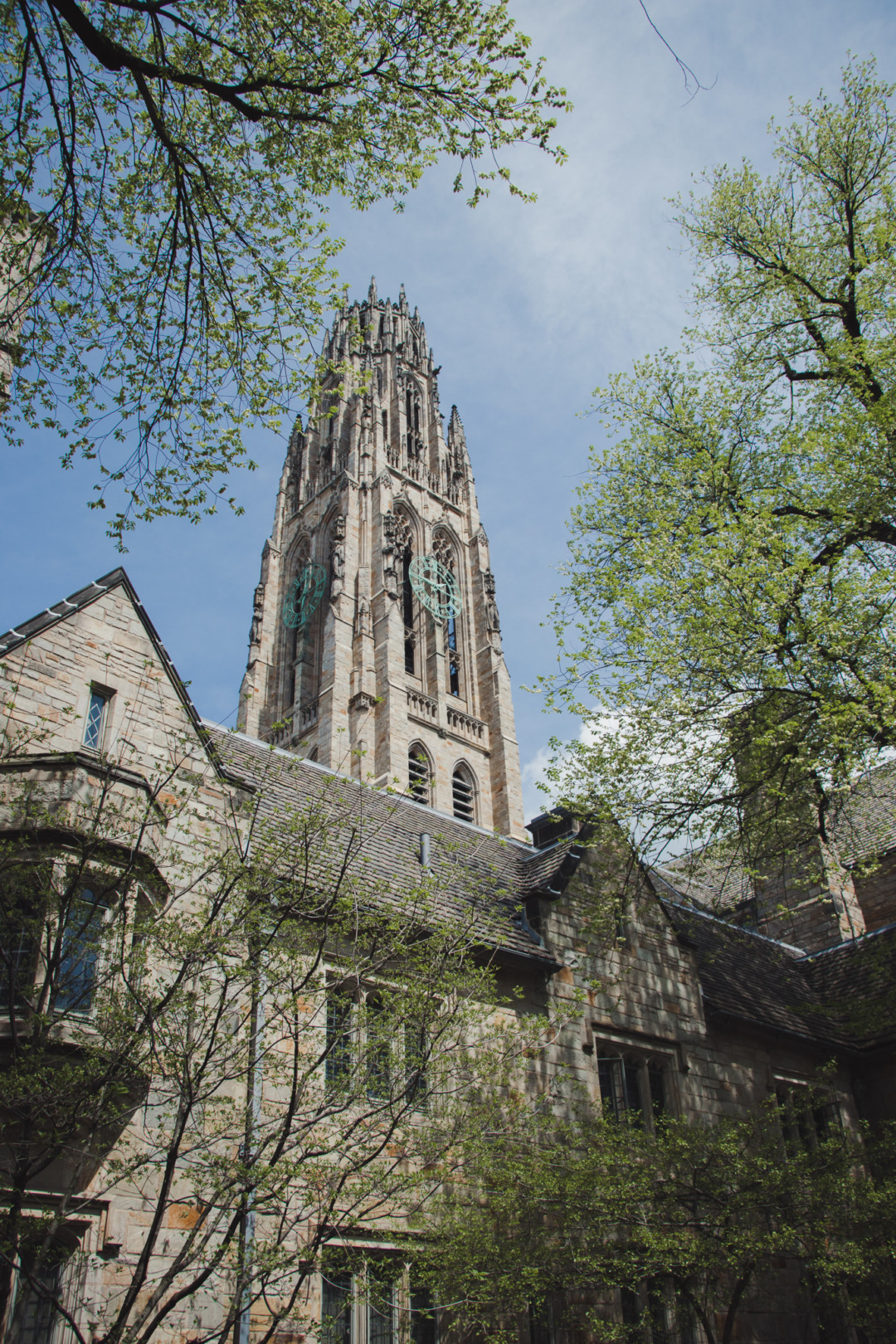 Harkness Tower at Yale University in the spring time