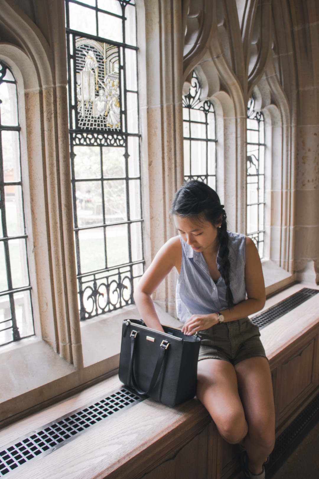 Kim inside the Sterling Memorial Library at Yale University, New Haven, CT