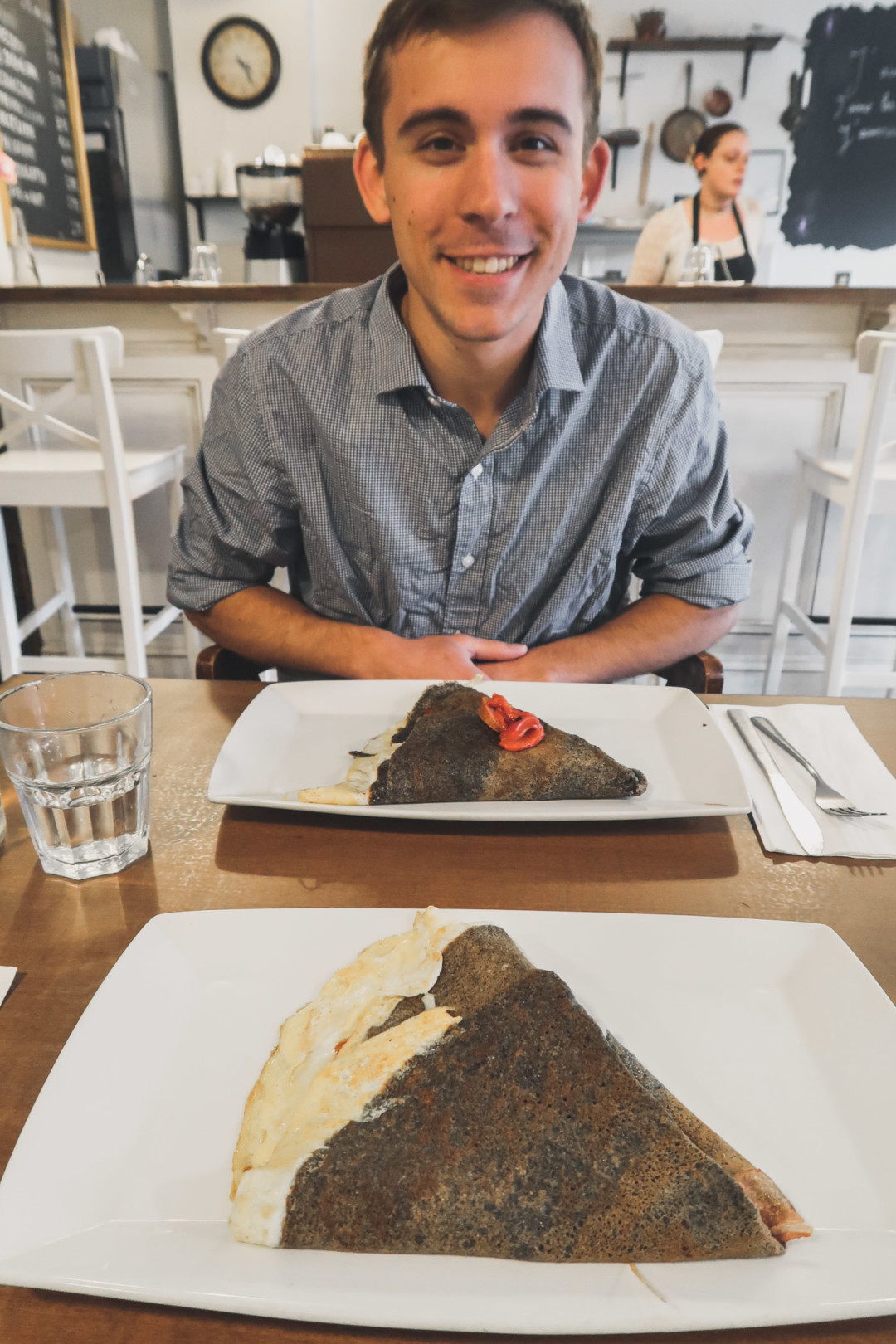 Dan and our crepes in New Haven, CT