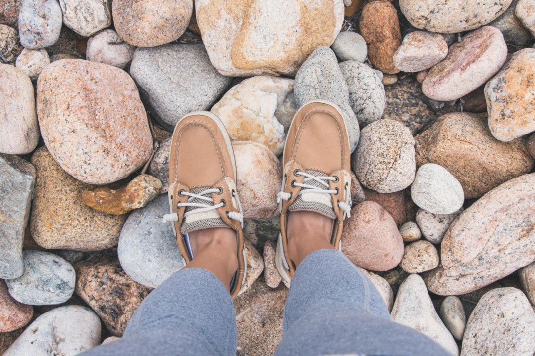 Rocks and Sperry Shoes on Block Island