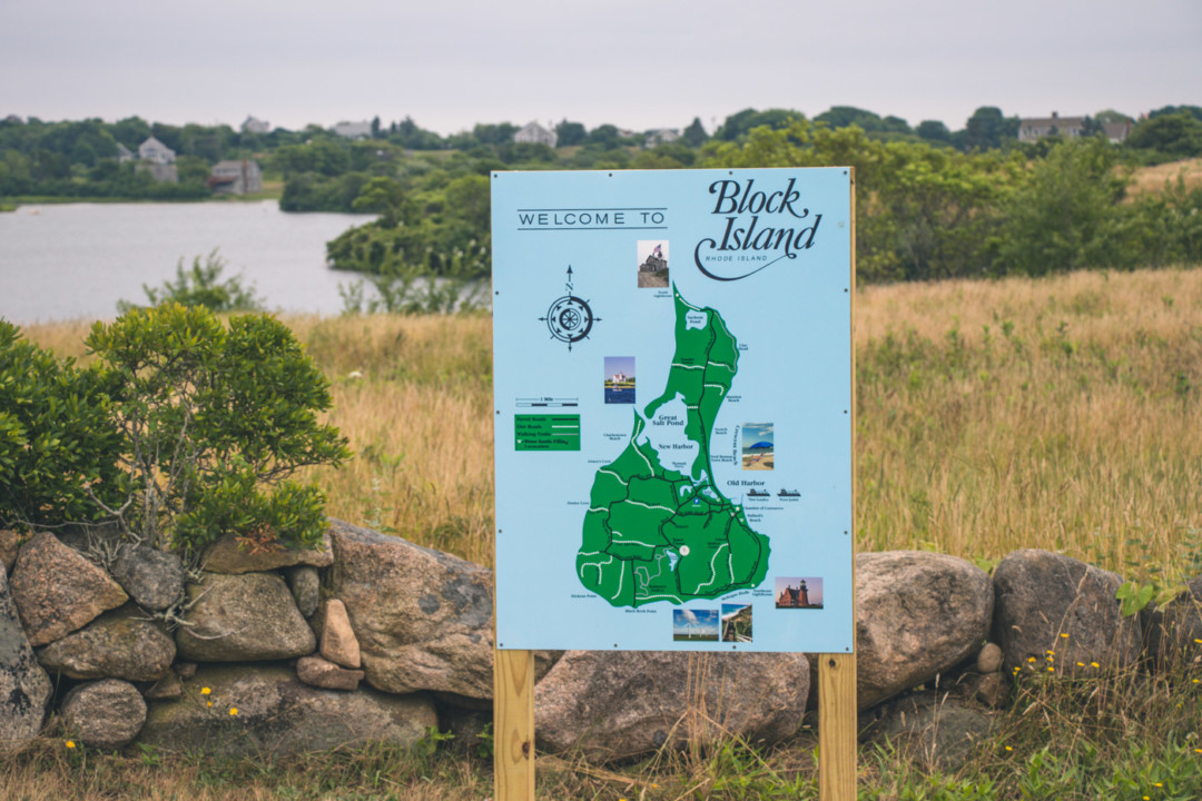 Block Island sign in nature