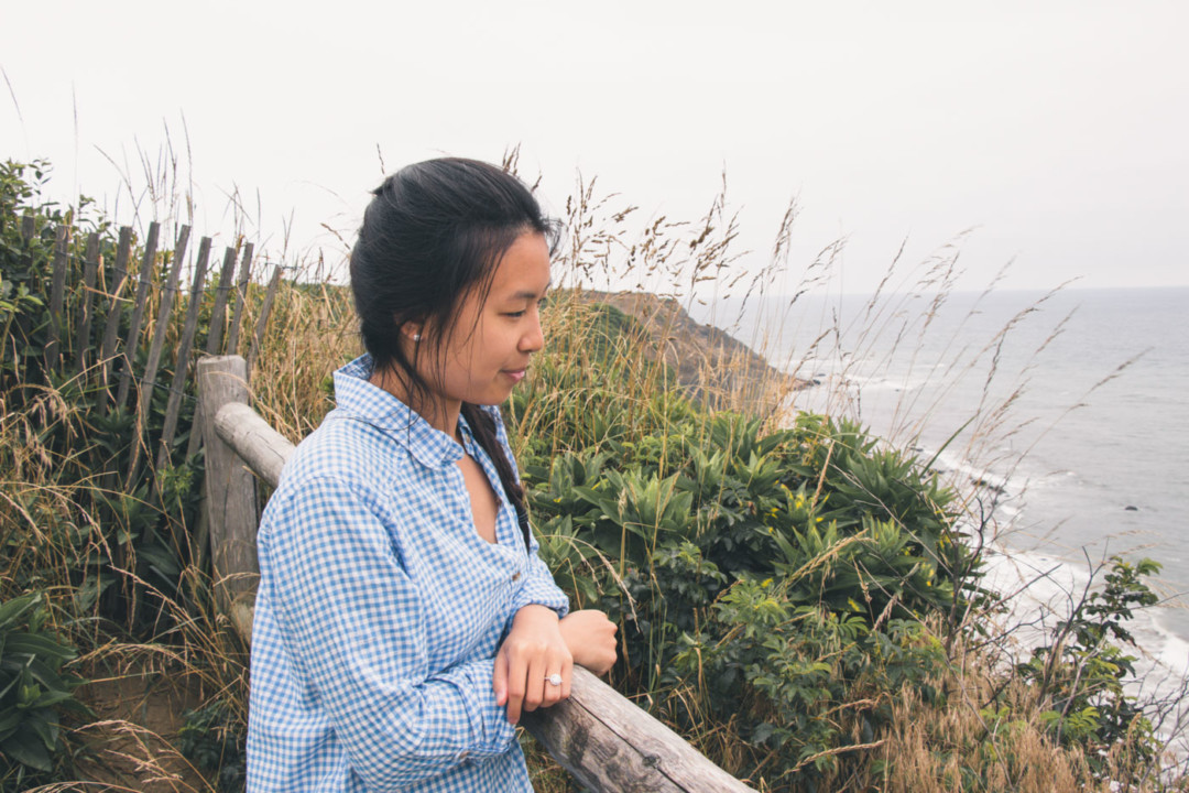 Kim at Block Island overlook wearing gingham