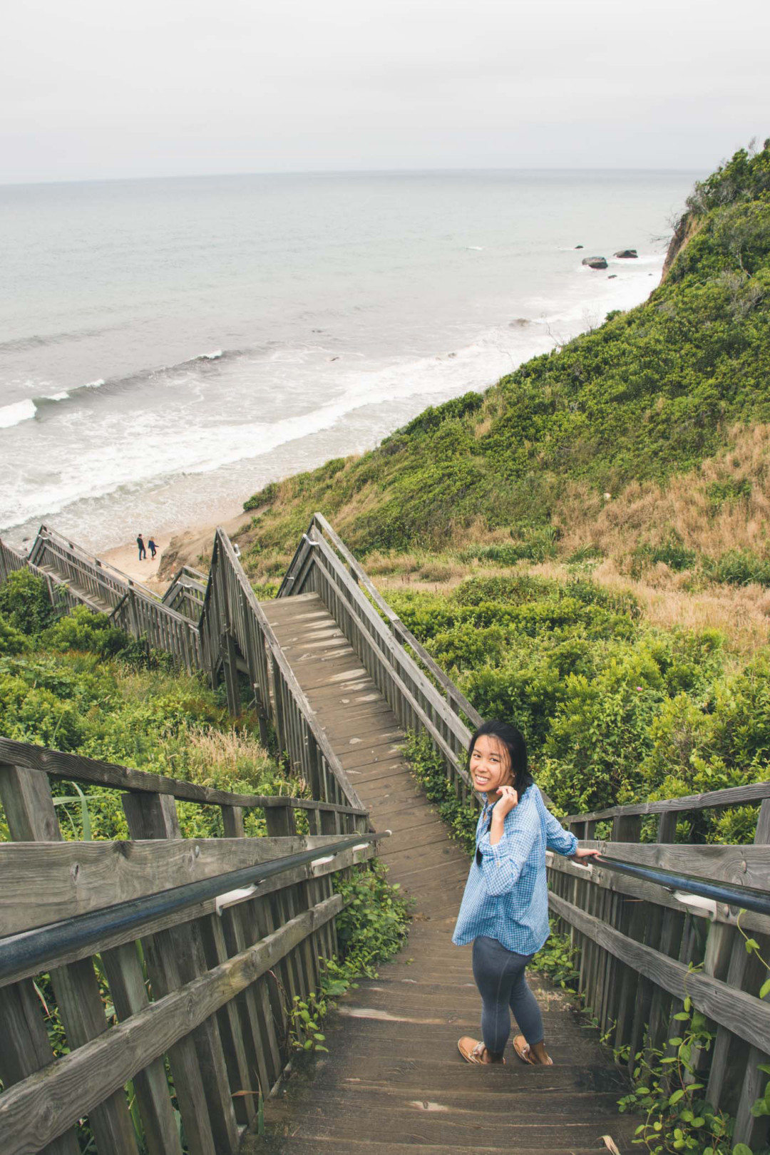 Kim at the stairs of Mohegan Bluff, Block Island