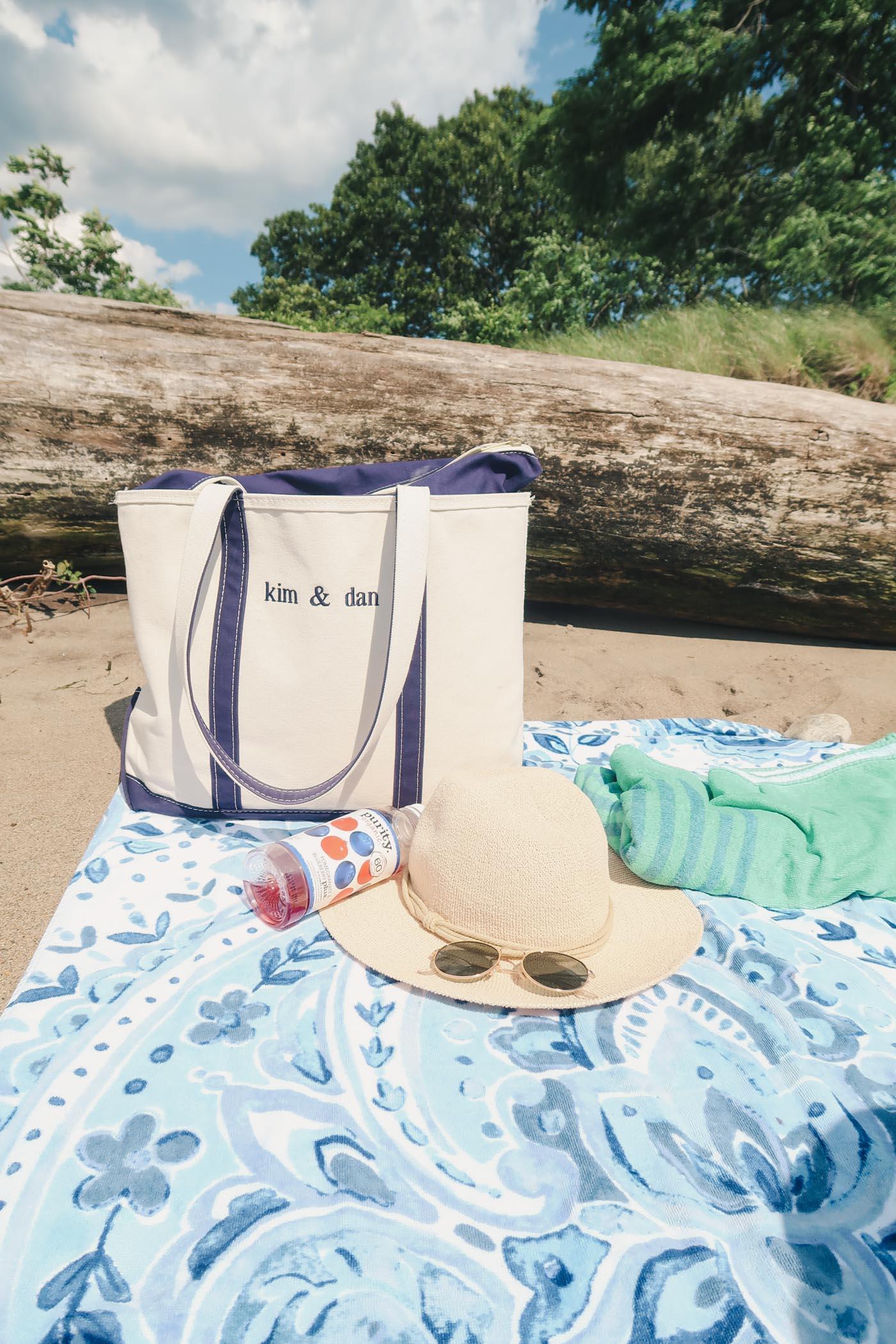 LLBean Beach bag, hat, and towel