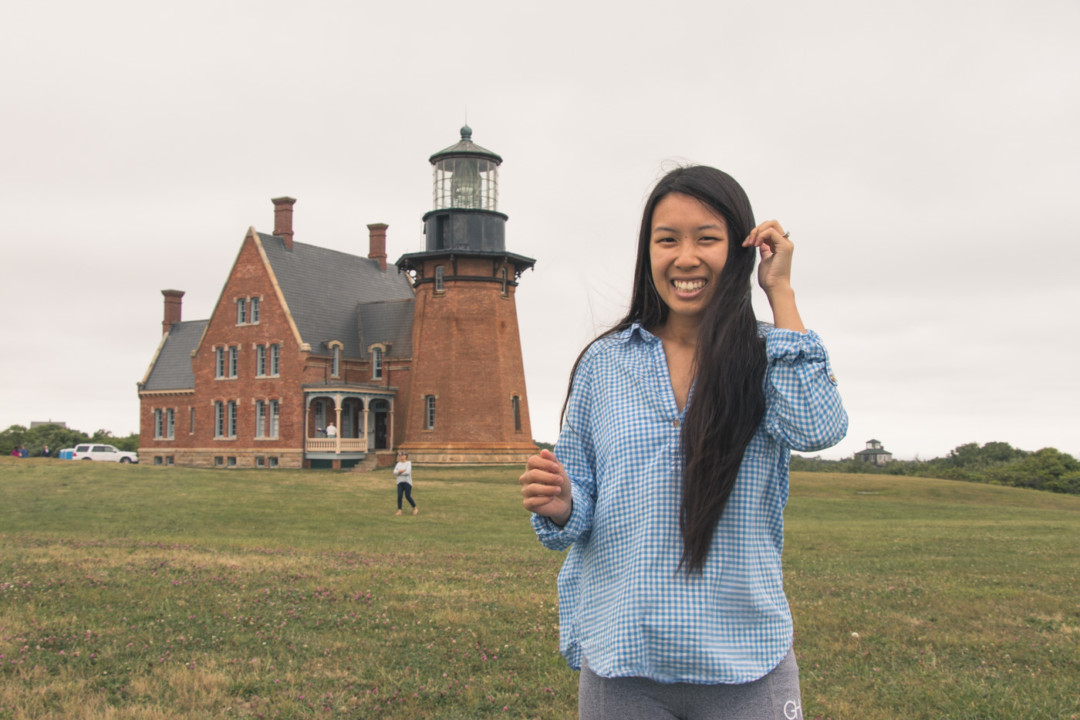 Kim at the Southeast Lighthouse on Block Island