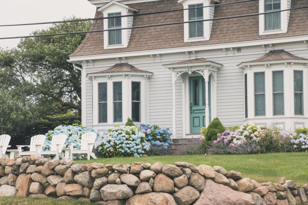 Adirondack Chairs and Hydrangeas on Block Island