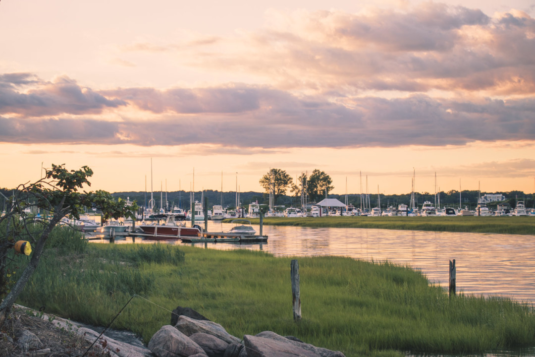 Guilford Yacht Club during sunset from Chaffinch Island Park, Connecticut