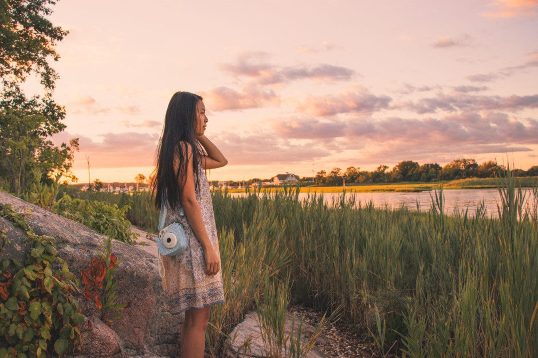 Photographing with Fujifilm Instax camera during sunset at Chaffinch Island Park, Guilford, Connecticut