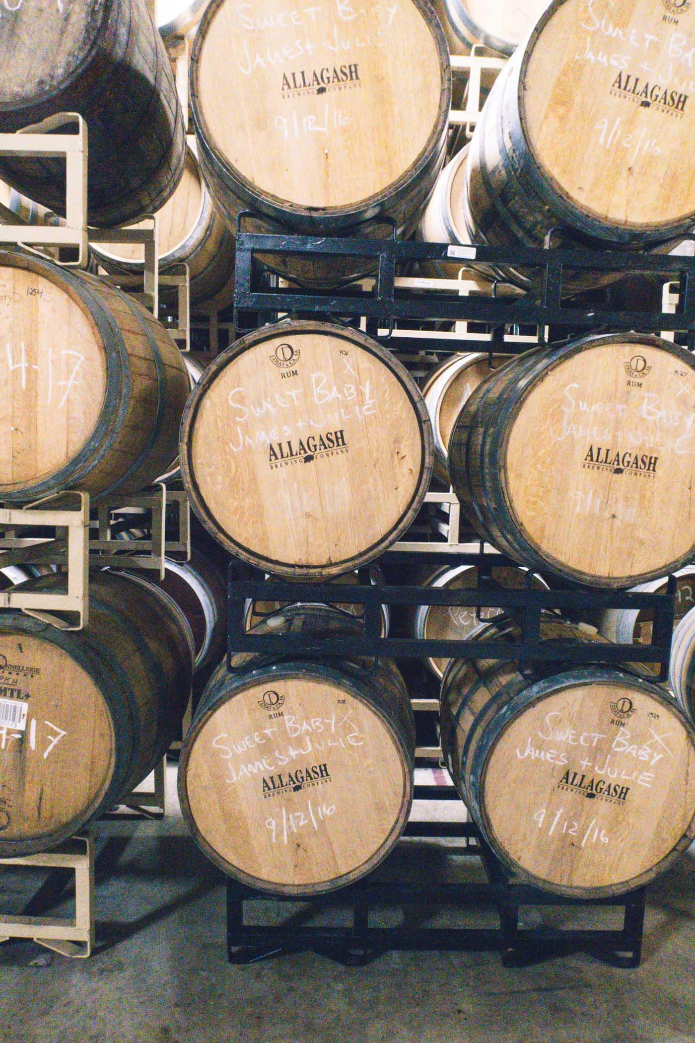 Beer Barrels at Allagash Brewing Co., Portland, Maine