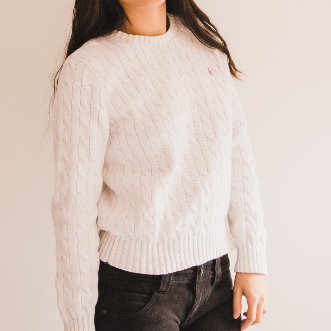 White Cable-Knit Classic Sweater from Ralph Lauren - Simply Lovebirds