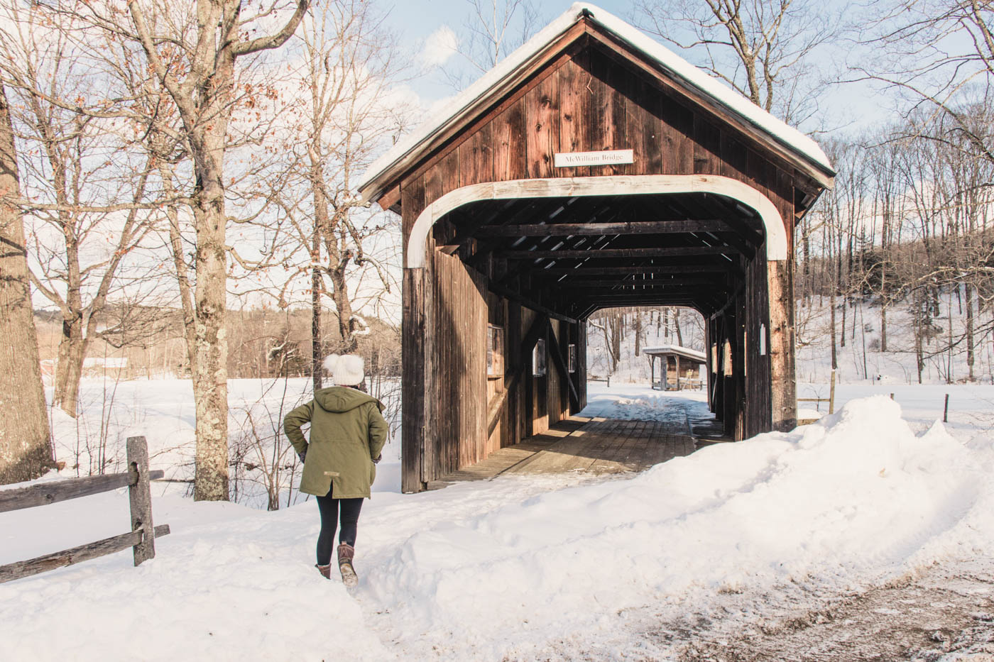 Covered bridge in Grafton, Vermont in the Winter - Simply Lovebirds