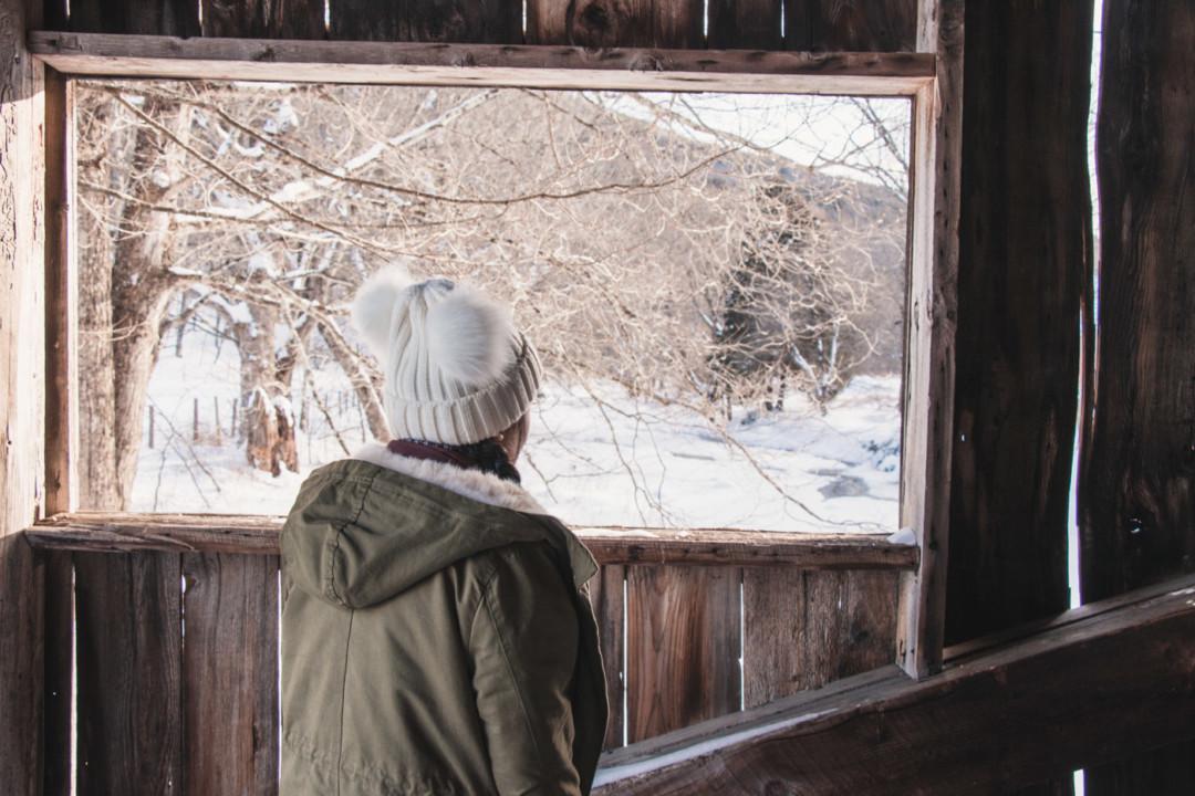 Covered bridge in Grafton, Vermont in the Winter