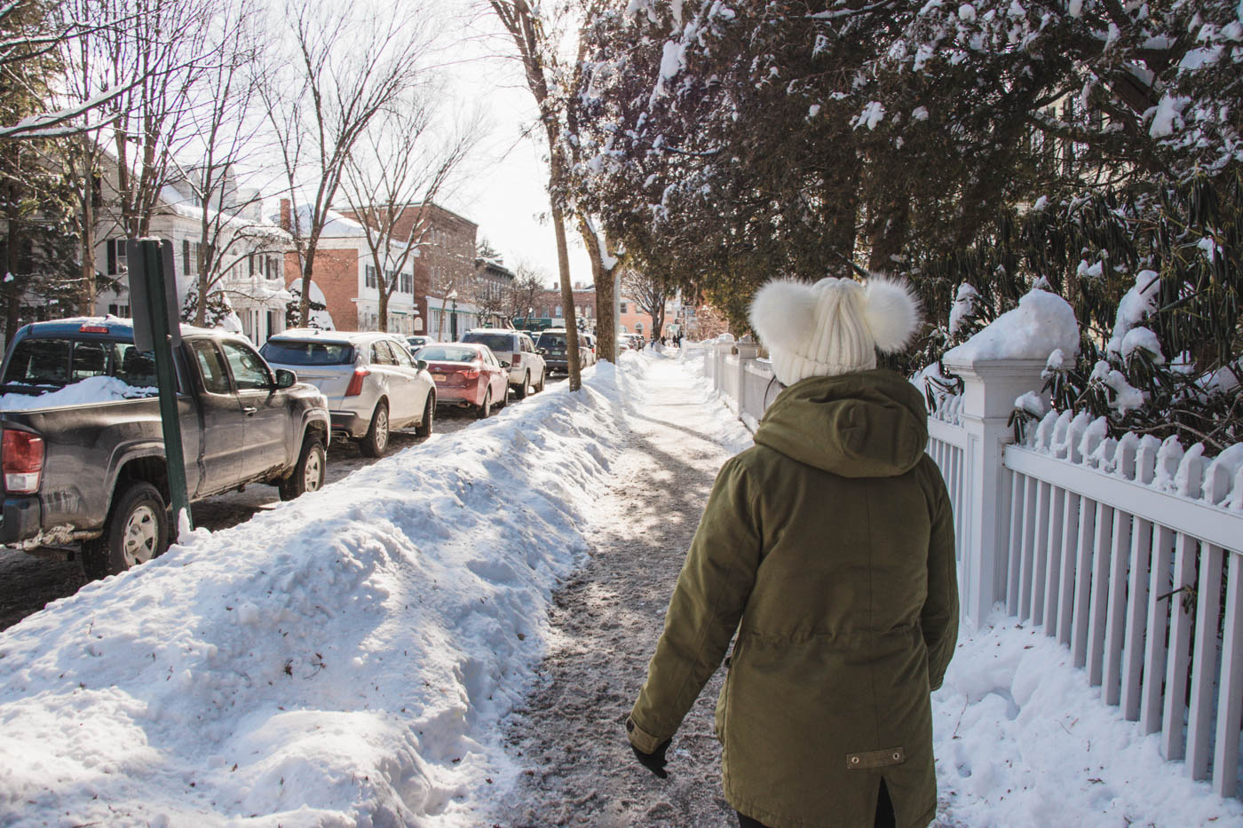 Walking in snow in Woodstock, Vermont - Simply Lovebirds - New England Lifestyle Blog
