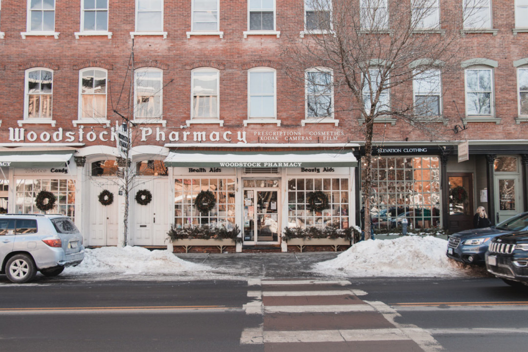 Entrance of Woodstock Pharmacy during the Winter - Simply Lovebirds - New England Lifestyle Blog