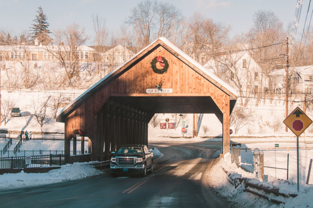 Quechee Covered Bridge in the winter, Vermont - Simply Lovebirds - New England Blog